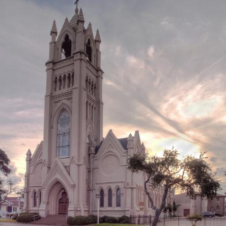 St Patrick Church Galveston in the Evening